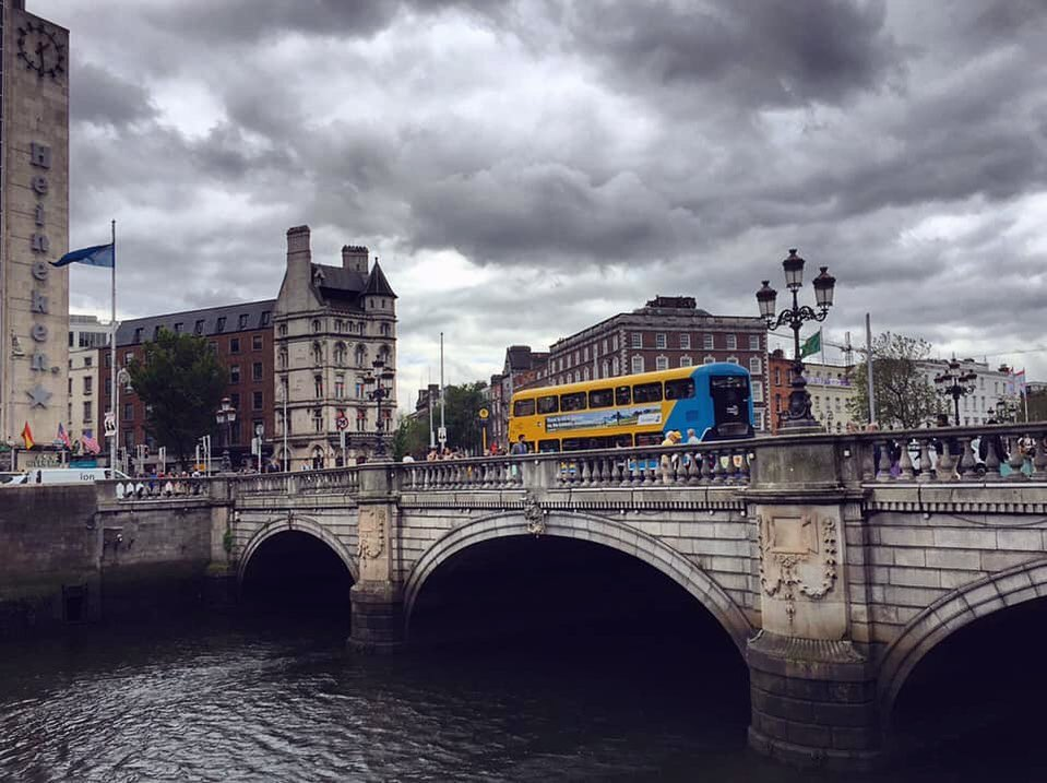 Dark rain-clouds over O' connell bridge on a rainy day in Dublin