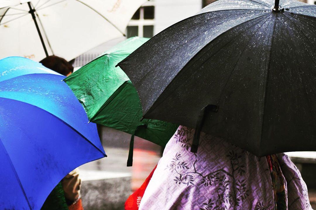 Umbrellas in Dublin in the rain