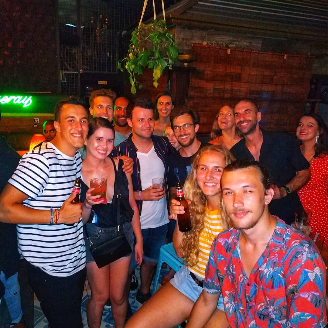 A group of young tourists on a bar crawl in Barcelona