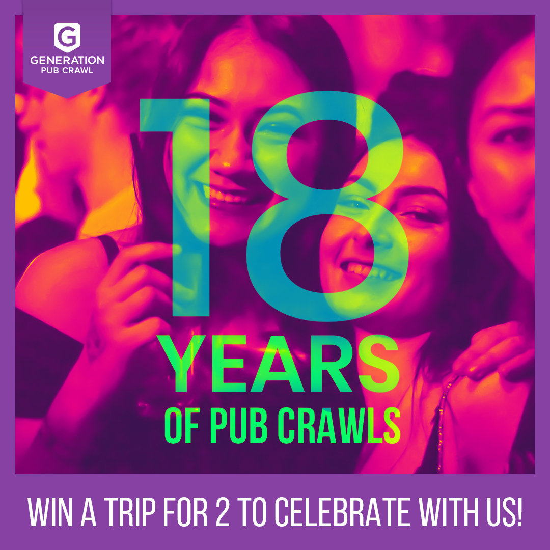 Win a Trip to Celebrate Our 18th Year of Pub Crawling!