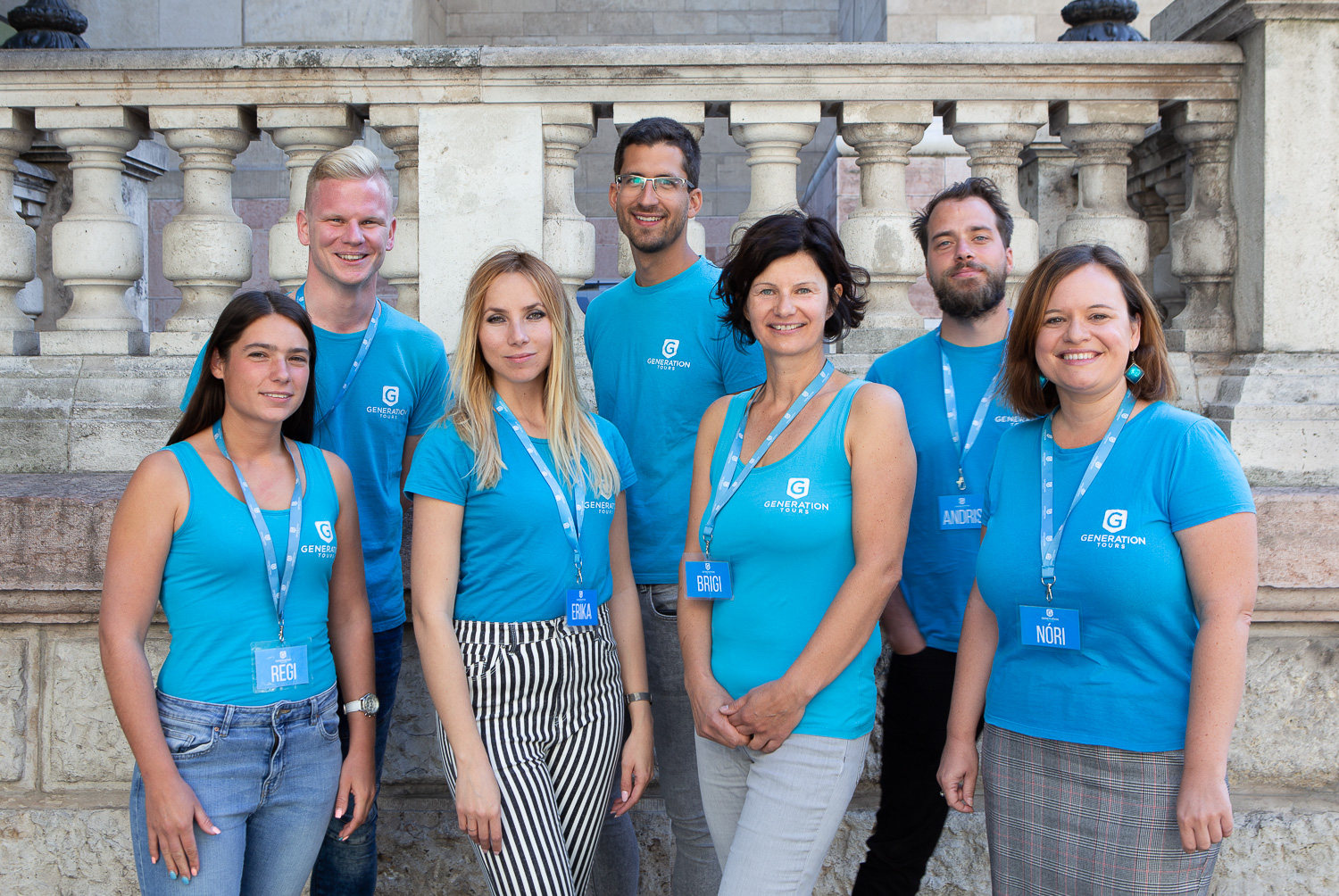 Team of Budapest city tour guides at the free tour of Budapest meeting point