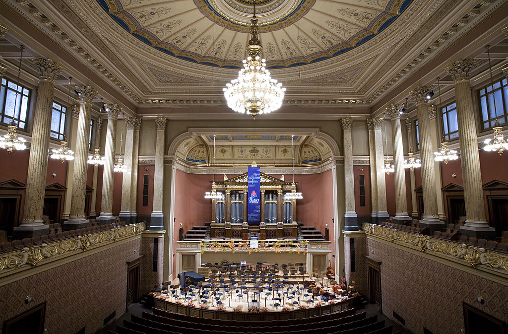 The Rudolfinum hall in Prague where once can listen to classical music in Prague at night