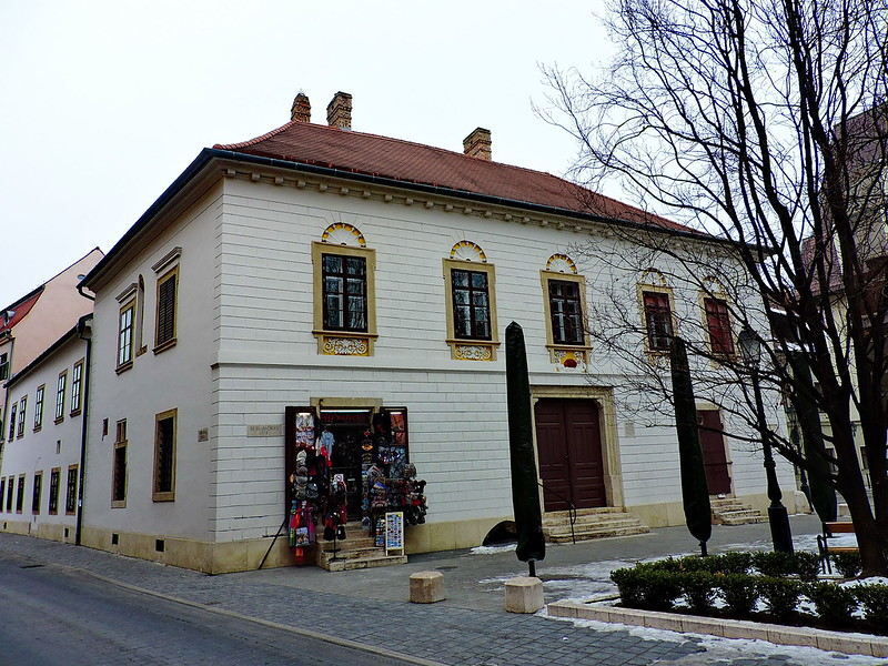 The exterior of Vörös Sün Ház, the red hedgehog house, the oldest building in Budapest