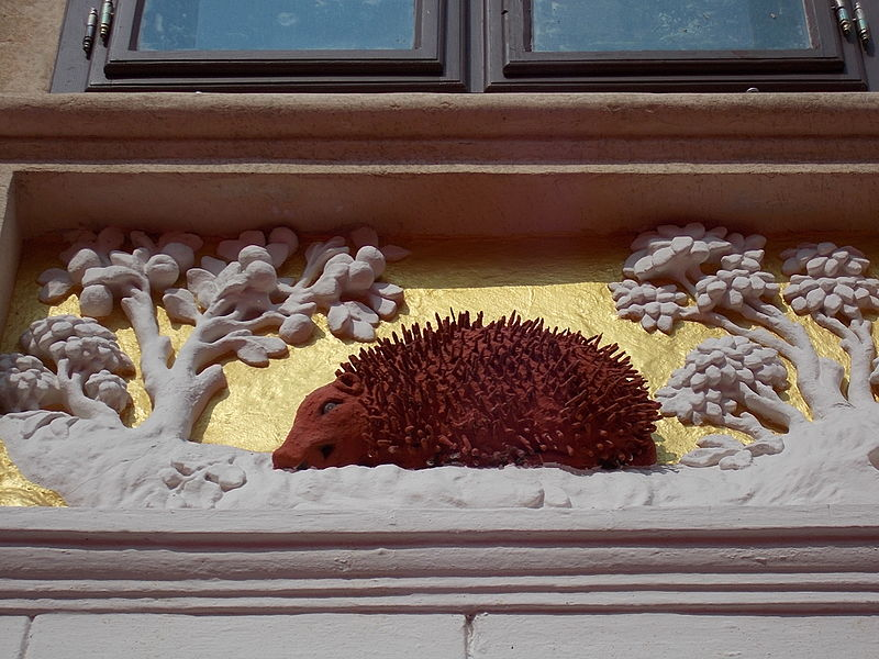 the red hedgehog on the facade of the oldest building in Budapest