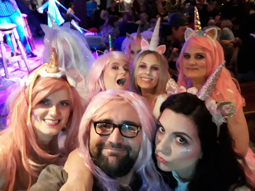 Pub crawl group in fancy dress