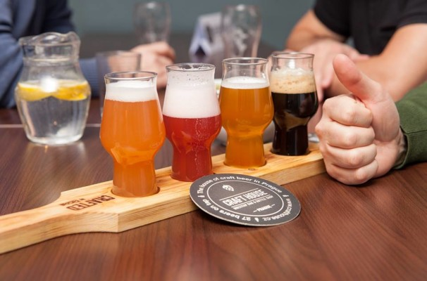 Craft beer sample taster tray at Craft House Prague in Czech Republic