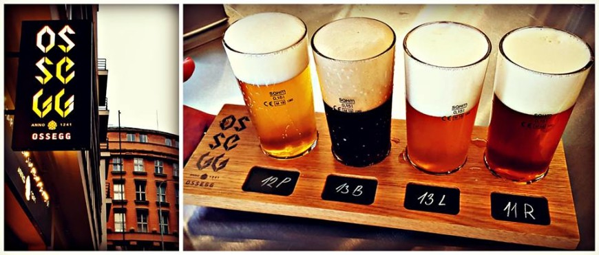 A beer sample taster tray from Ossegg in Prague, Czech Republic
